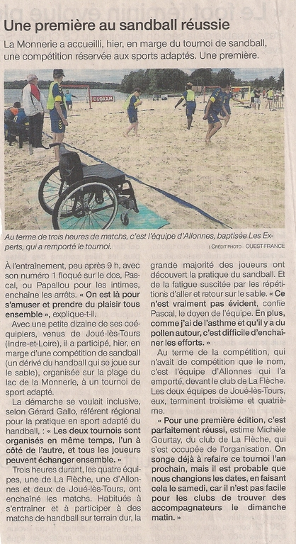 ARTICLE DE PRESSE - SANDBALL LA FLECHE !